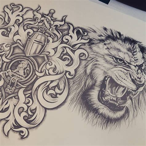 chest and sleeve tattoo designs half chest sketches amazing