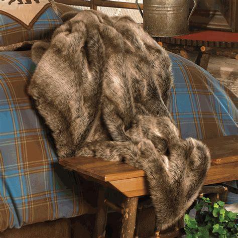 Rustic Bedding: Chinchilla Faux Fur Throw Black Forest Decor