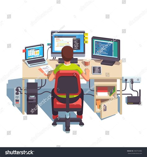 best desk for computer programmer professional programmer working writing code at his big