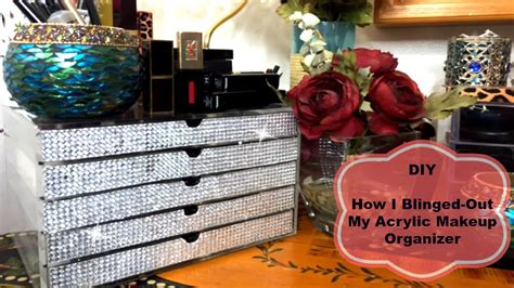 How To Make A Vanity Out Of A Desk Diy Bling Acrylic Makeup Organizer Youtube