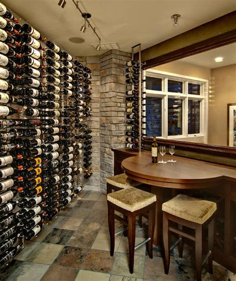 Home Wine Tasting Room Design Wine Cellar With Compact Seating Area That Comes In Handy