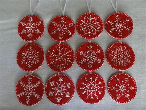 embroidered snowflake ornaments penny wool pinterest