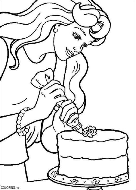 Coloring Page Barbie Cooking Coloring Me Cooking Coloring Page