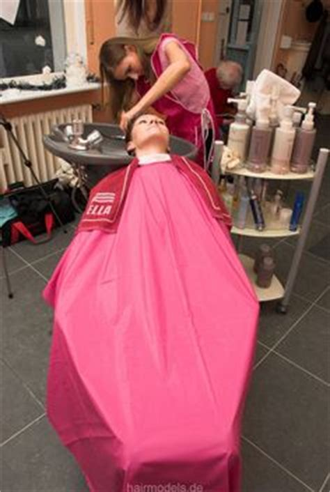 females in pvc getting haircuts salon cape a brief history of beauty pinterest