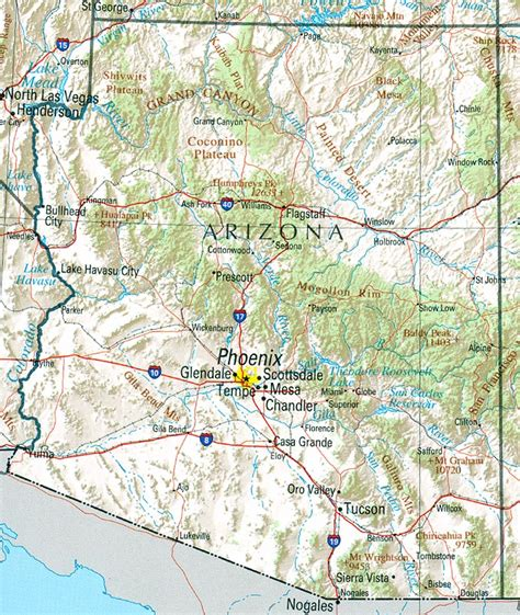 arizona state on us map free maps of arizona