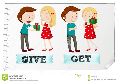 Of Getting by Verbs Give And Get Stock Vector Illustration Of