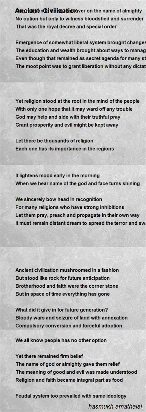 ancient civilization poem  hasmukh amathalal poem hunter