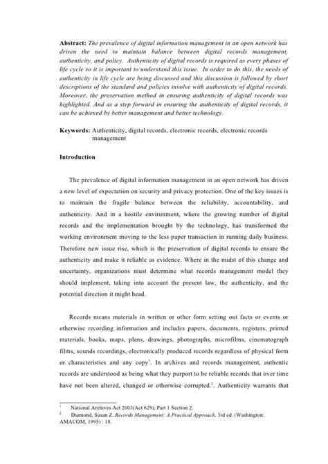 Digital Essay by Authenticity Digital Records Term Essay