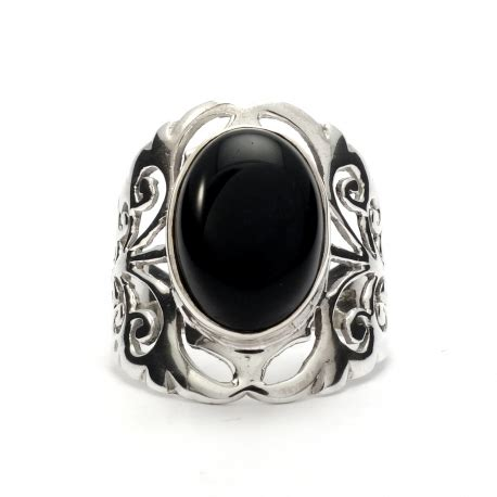 black resistor silver band black onyx silver ring silver jewellery ireland