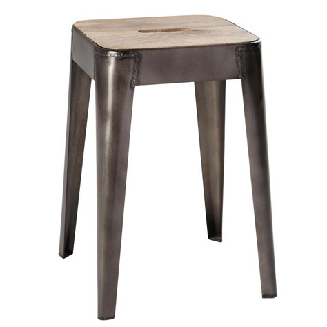 Wood And Metal Stool by Mango Wood And Metal Stool Manufacture Maisons Du Monde