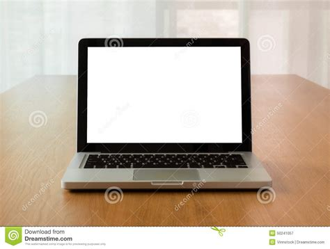 Mock Up Laptop With Isolate Screen On Desk Stock Photo Laptop On Desk