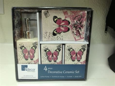Bathroom Set Butterfly Gorgeous Pink Butterfly Ceramic Bathroom Accessory Set