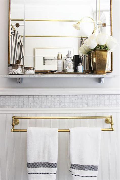 marble shelf bathroom white and gold bathrooms transitional bathroom
