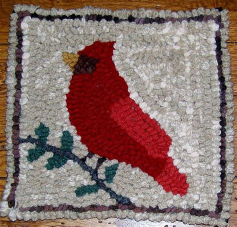 Beginner Cardinal Rug Hooking Kit With By Aprimitiverughooker Rug Hooking Kits For