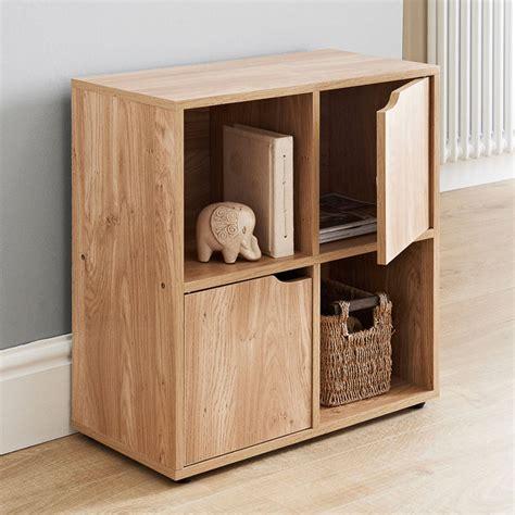 oak storage with doors oak finish 9 cube 5 door wooden storage unit display