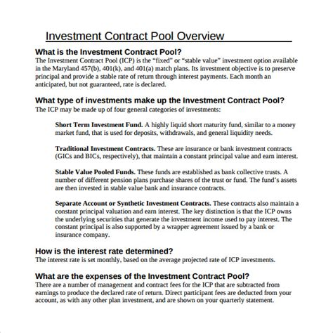 investment contract template 7 free sle exle