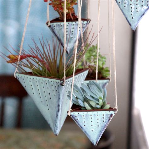 geometric hanging planter geometric hanging planter triangle pot with dots design