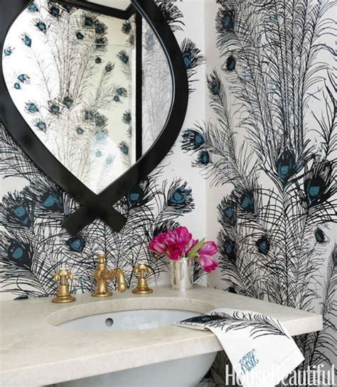peacock feathers wallpaper contemporary bathroom