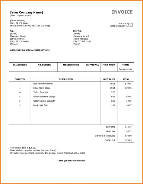 Receipts Template Doc by Invoice Format Doc Hardhost Info