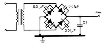 calculate capacitor bridge rectifier shortwave hum
