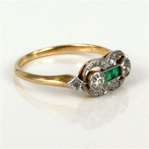 antique deco ring buy 18ct deco emerald and ring sold items sold rings sydney kalmarantiques
