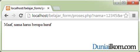 membuat validasi email dengan php pesan kesalahan yang diset saat variabel nama diisi dengan