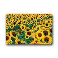 Sunflower Kitchen Rugs Custom Sunflower Lanscape Field Door Mats Cover Non Slip Machine Washable Outdoor