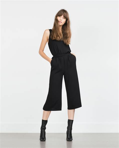 Cropped Jumpsuit zara cropped jumpsuit in black lyst