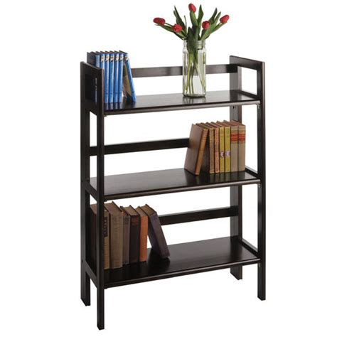 28 Inch Wide Bookcase shelves 28 inch wide beechwood three tier folding shelf with black finish kitchensource