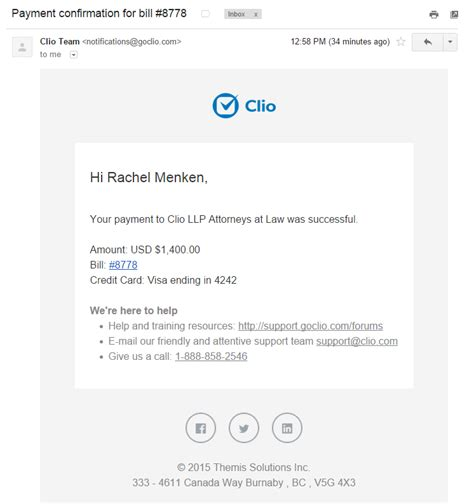 payment confirmation email template clio payments sending a bill to your client via email for