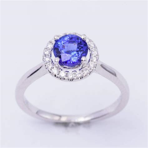 tanzanite white gold engagement halo ring for sale
