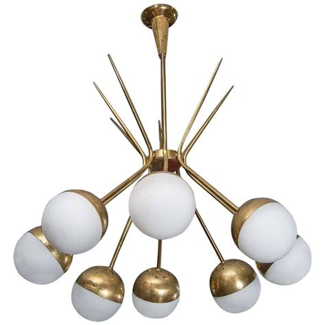 Globe Style Chandelier Brass And Glass Globes Stilnovo Style Chandelier At 1stdibs