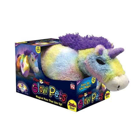 as seen on tv pillow pets glow pets jumbo shimmering