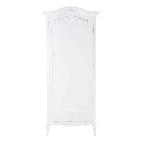 White Wooden Wardrobe Wooden Wardrobe In White W 90cm Maisons Du Monde