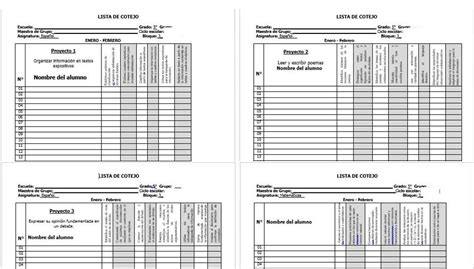 planeacion de segundo grado primaria lista de cotejo listas de cotejo de primero a sexto de primaria