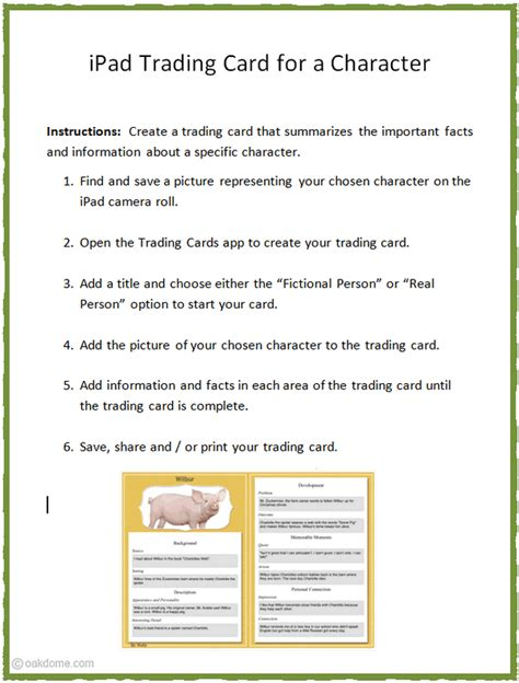 character trading card template technology integration reading comprehension