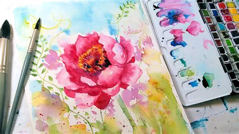 watercolor tutorial peony loose easy peony watercolor tutorial real time youtube