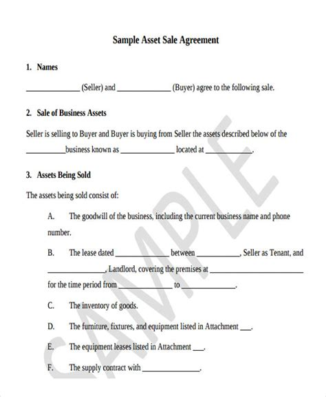 asset agreement templates 5 free word pdf format