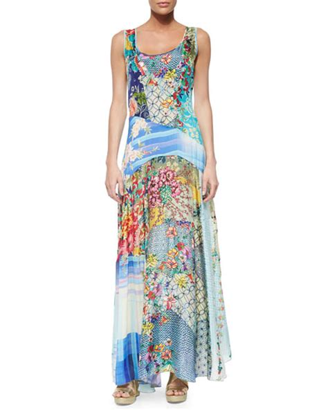 Patchwork Maxi Dress - johnny was sleeveless patchwork maxi dress