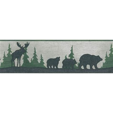 woodland silhouette l shade 451 1791 moose forest silhouette decorative border