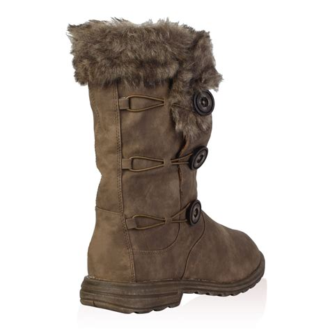 soft faux fur lined womens button winter snow calf boots shoes size 5 10 ebay