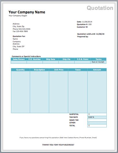 computer purchase quotation template quote template