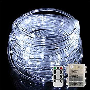 vmanoo rope lights 120 led battery operated string fairy christmas lighting decor timer for outdoor indoor garden patio lawn hahome battery operated 50 led rope light 16 4 cool white home improvement