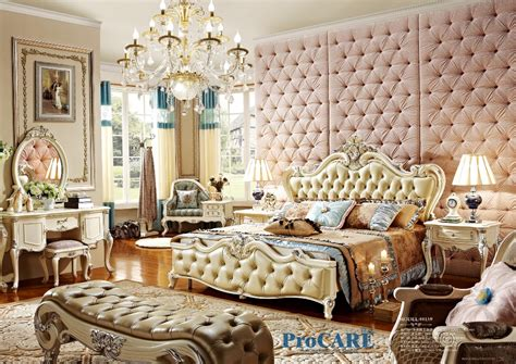Bedroom Furniture Sets High End High End Solid Wood And Leather Bed Baroque Bedroom