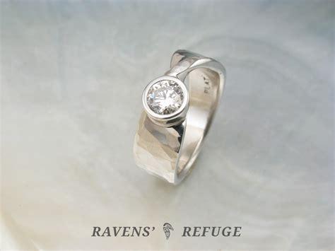 Engagement Rings Handmade - m 246 bius engagement ring hammered platinum band with bezel