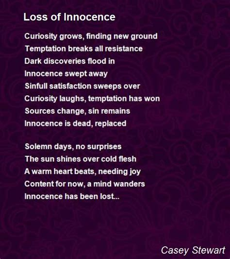 loss of poem loss of innocence poem by casey stewart poem