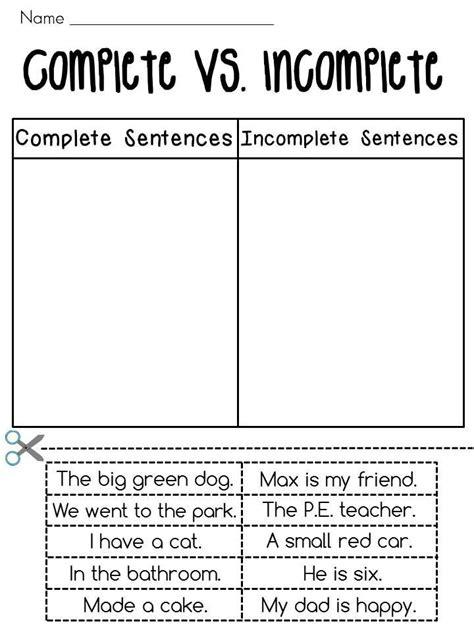 Complete Sentences vs. Incomplete Sentences Sorting