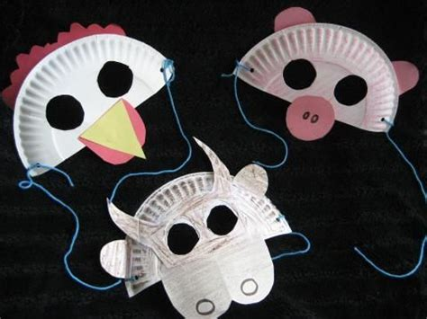How To Make Animal Mask With Paper Plate - farm animal masks farm animal crafts for children