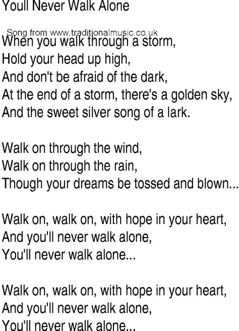 song and ballad lyrics for youll never walk