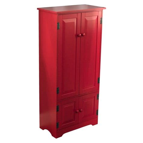 Tall Kitchen Pantry Cabinet by Tall Storage Cabinet Wood Red Tms Target